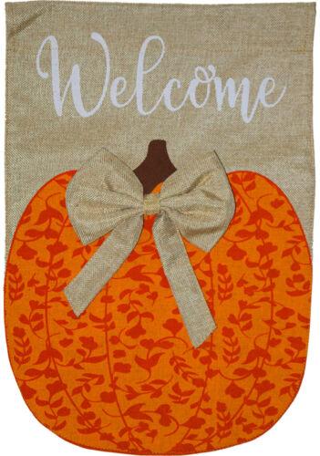 "Autumn Pumpkin Burlap House Flag Welcome 28/"" x 40/"" Briarwood Lane"