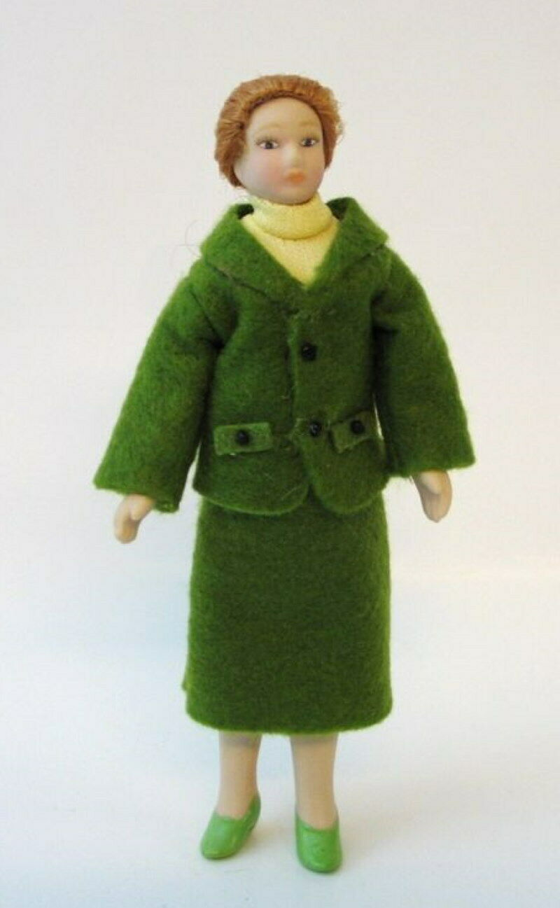 Dame Lady mit Hut elegant blauen Kleid Puppe für die Puppenstube Miniatur 1:12