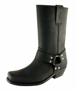 Men-039-s-Motorcycle-Cowboy-Boots-Leather-UK-Size-5-6-7-8-9-10-11-12-Made-in-Spain
