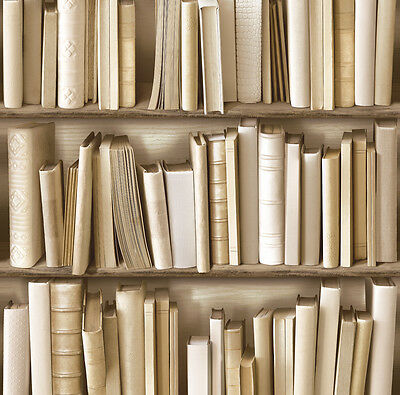 SEPIA NATURAL BOOKS BOOKCASE  BOOKSHELF MURIVA FEATURE DESIGNER WALLPAPER 102701