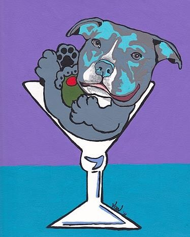 11X14 Blue PIT BULL TERRIER MARTINI Dog Pop Art PRINT of Original Painting VERN