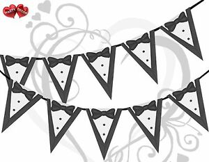 Groom-Tuxedo-White-Black-Silver-Bunting-Banner-15-flag-12ft-Simply-Stylish-Touch