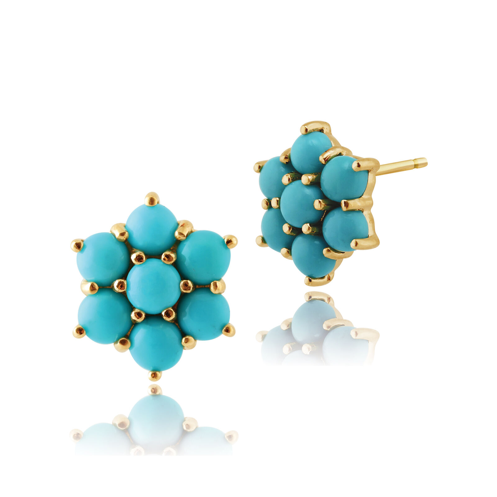 Gemondo 9ct Yellow gold 1.47ct Turquoise Cabochon Cluster Stud Earrings