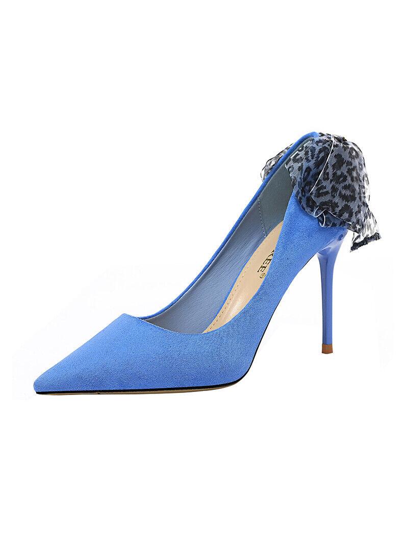 Stilett Pumps 10 cm Blau Wildleder Schleifchen Leder Kunststoff Elegant 7009