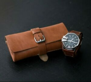 319f5becd0632 Details about Leather watch roll for 2-5 watches, Travel watch roll, Watch  roll, watch case
