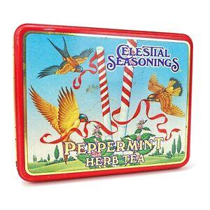 Vintage 1985 Celestial Seasonings Tea Tin Box Empty Peppermint Herb Advertising