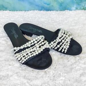 c7a57f62421  1250 CHANEL Black Canvas Pearl CC Slip On Mule Flat Slides Sandals ...