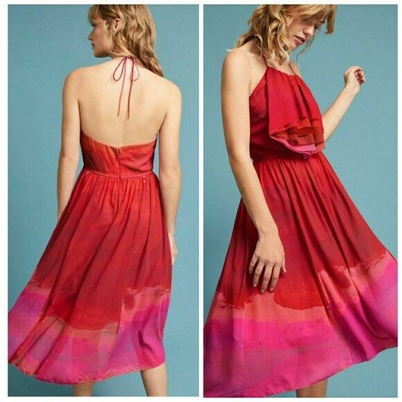 BRAND NWOT Anthropologie CASCADE HALTER Dress -SOLD OUT OUT OUT Size 6 by TRACY REESE 87b407