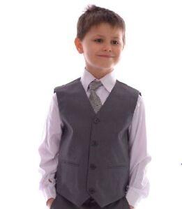 Garcons-Smart-Gris-Gilet-Mariage-Pageboy-partie-Prom-0-3-Mois-14-ans