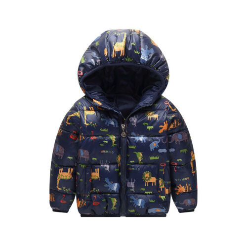 Autumn Kids Boys Girls Hooded Jacket Winter Zip Up Coats Windbreaker Outerwear