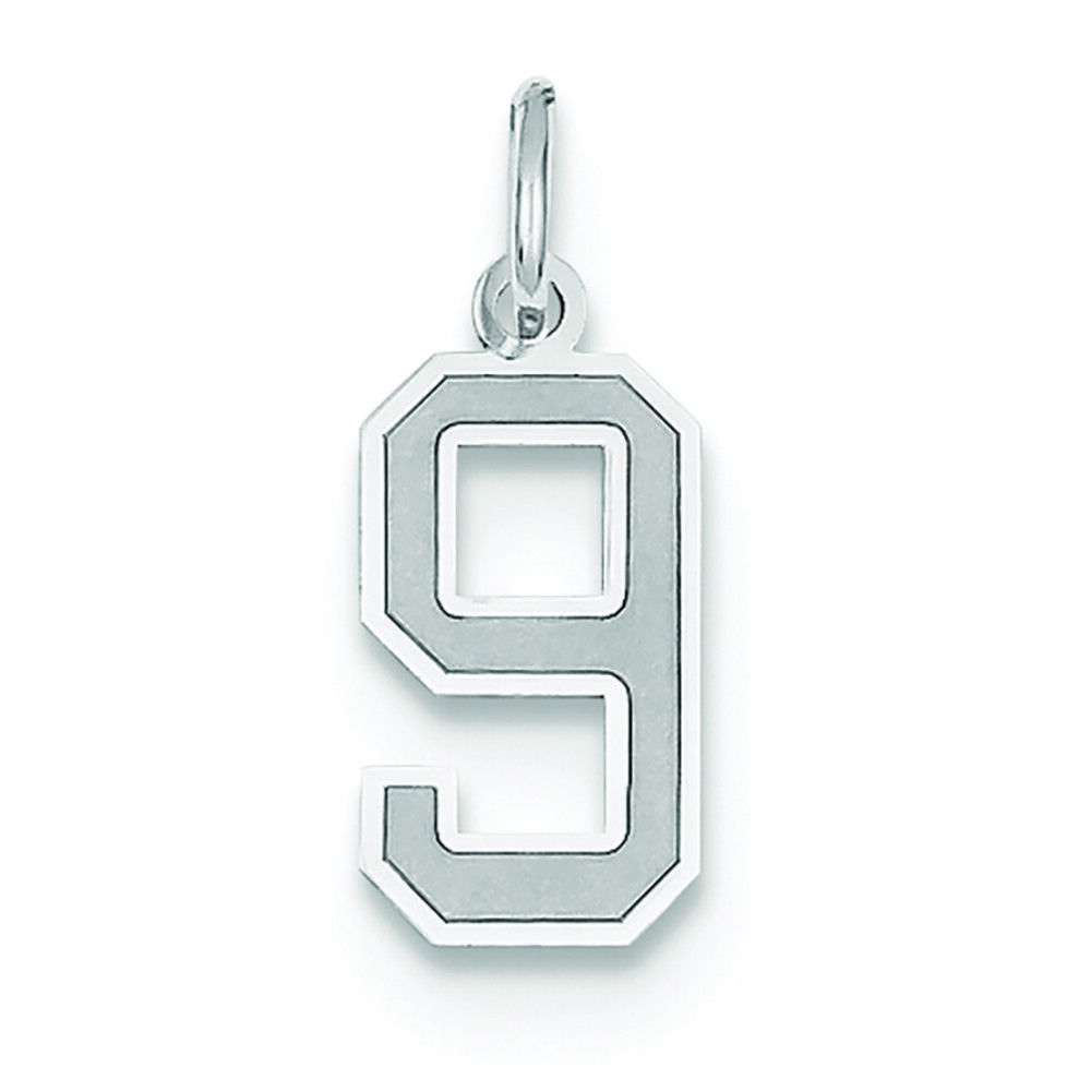 14K White gold Small Number 9 Charm Pendant MSRP  138