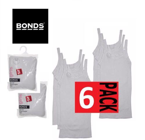 6 PACK x BONDS GIRLS WHITE NARROW STRAP SINGLETS Kids Underwear Chesty Vest Top