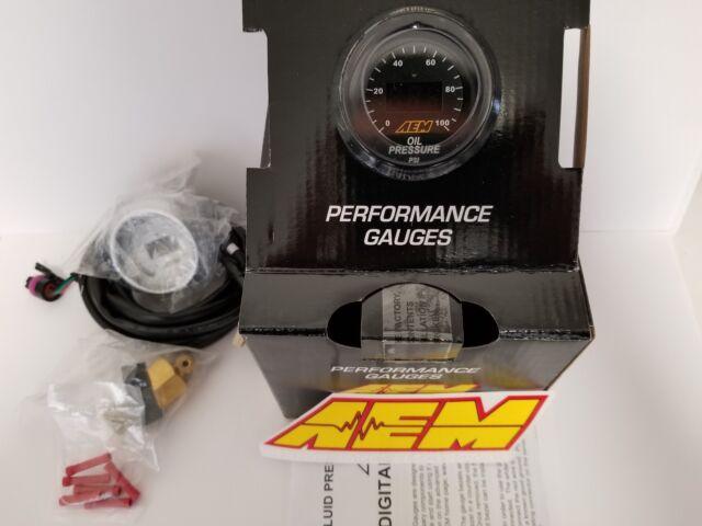 AEM Power 52mm Digital Gauge Oil / Fuel Pressure 0-100 PSI 7 Bar Universal NEW