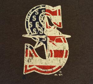 Seattle-Mariners-USA-Flag-Logo-T-Shirt-XL-X-Large-EUC-MLB-Baseball-Gray-INV1680