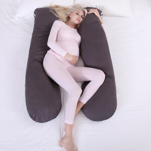 Pregnancy-Pillow-Maternity-Belly-Contoured-Body-U-Shape-Extra-Comfort-Gray