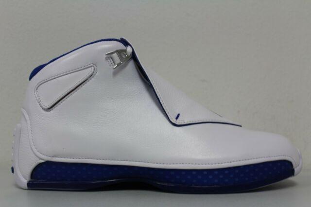 fc64415494e ... coupon nike mens air jordan 18 retro xviii white royal blue aa2494 106  size 12 2c2b8
