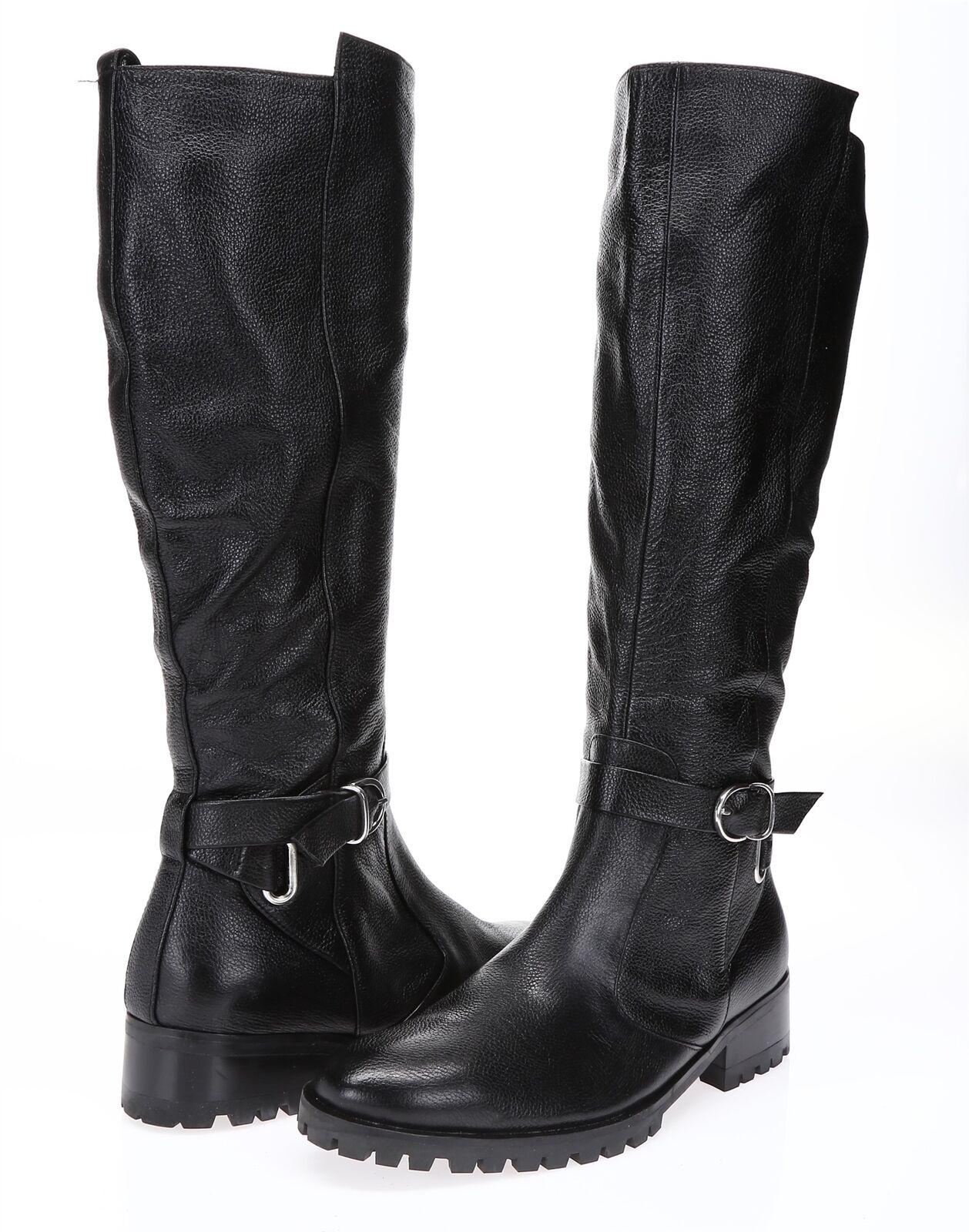TESORI Womens 'Valencia' Black Leather Knee High Sz 6 M Boots 217808