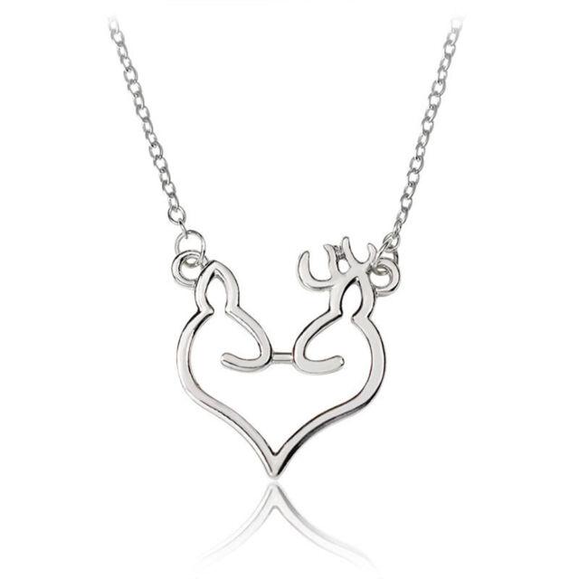 Fashion Women Minimalist Elk Deer Love Heart Pendant Necklace Christmas Jewelry