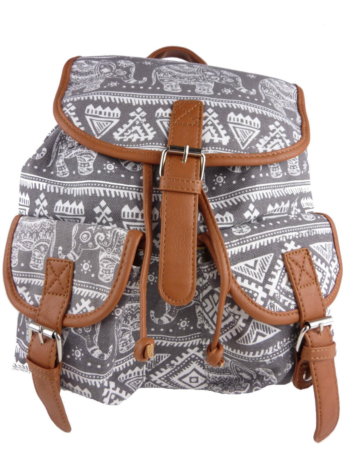 794299088d6d6 Elephant Cloth Backpack Backpack Oriental Vintage Style Fabric Denim ...