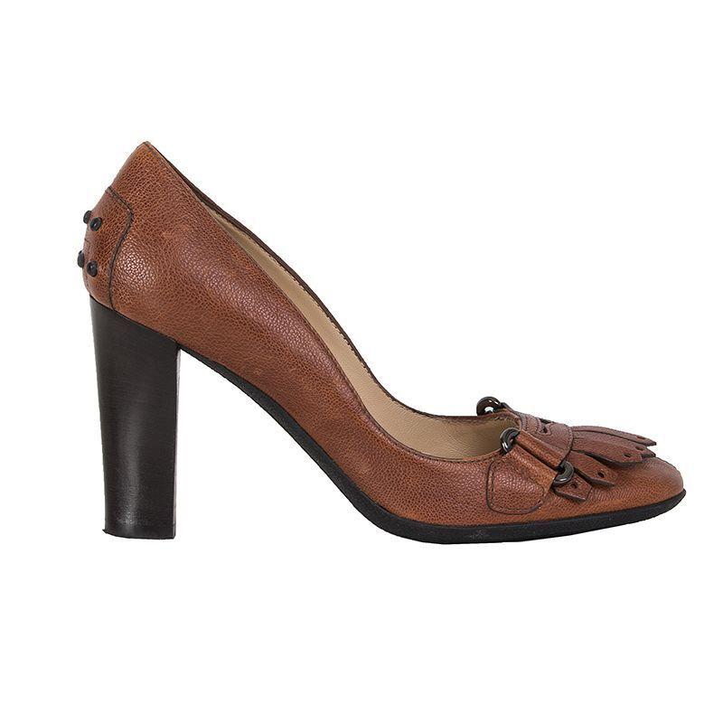 53631 Auth Tod'S Coñac Coñac Coñac grano cuero con borlas zapatos de salón 35.5  el mejor servicio post-venta