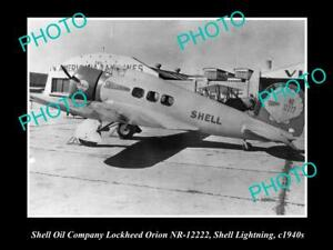 OLD-POSTCARD-SIZE-PHOTO-OF-THE-SHELL-OIL-COMPANY-AEROPLANE-LOCKHEED-ORION-1940