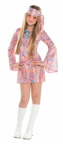 Filles Hippy Hippie Costume Kids 1960 S 1970 s Disco Diva Fleur Pouvoir Fancy Dress