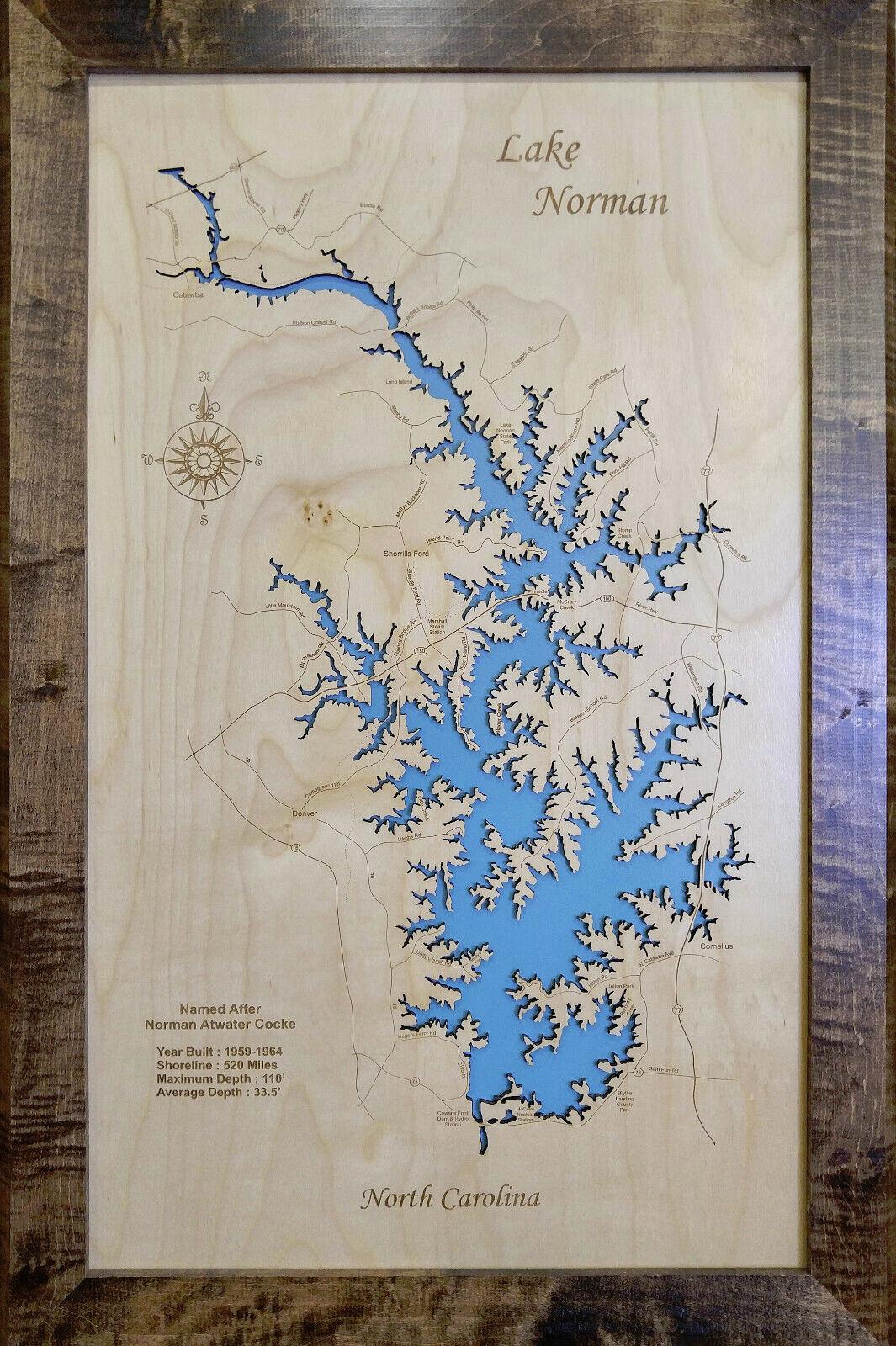 Wood Laser Cut Map Map Map of Lake Norman, NC 9073e6