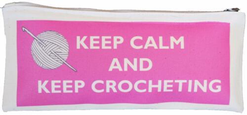 Keep Calm /& mantener Tejido A Crochet-algodón natural cremallera Funda-suministrado vacío Rosa