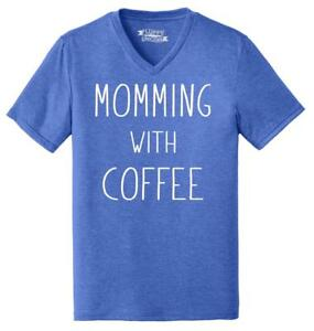 Mens-Momming-With-Coffee-Triblend-V-Neck-Mother-Gift-Shirt