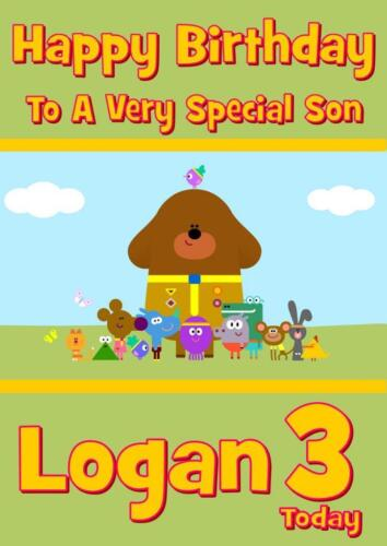 ANY NAME AGE RELATION HEY DUGGEE PERSONALISED BIRTHDAY CARD