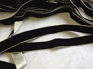 "1/2"" Double Side BLACK / SILVER Antique Vintage Silk Rayon Satin Back Velvet"