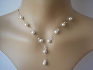 40csw Dainty Pearl Crystal Drop Necklace Bridal Bridesmaid Wedding Brides