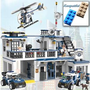 XL-Baustein-Polizeistation-834-Teile-Polizeiwache-Gefaengnis-Police-Auto-City