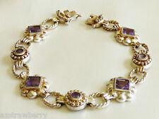 "Hand Crafted Sterling Silver 925 Amethyst Stones link bracelet 7""L"