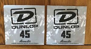 2 X Dunlop Guitare Acoustique Cordes | .045 Gauge | Plaie Bronze Phosphoreux-afficher Le Titre D'origine
