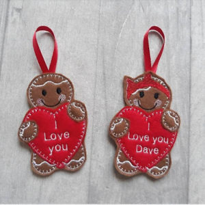 Felt I love you heart cookie Personalised Valentines day gingerbread gift