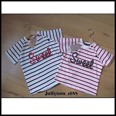 MINOTI BABY GIRLS PARIS LONG SLEEVE TOP T SHIRT AGE 6-18 MONTHS RED WHITE TEE