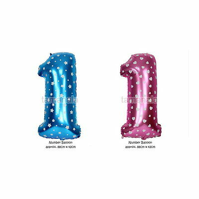 "Foil Balloon 40"" Numbers Pink Blue 0-9 Birthday Baby Shower Party Wedding Decor"