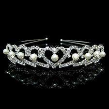 Tiara Bridal Bride Wedding Headwear Band Pearls & Love Hearts - Brand New UK