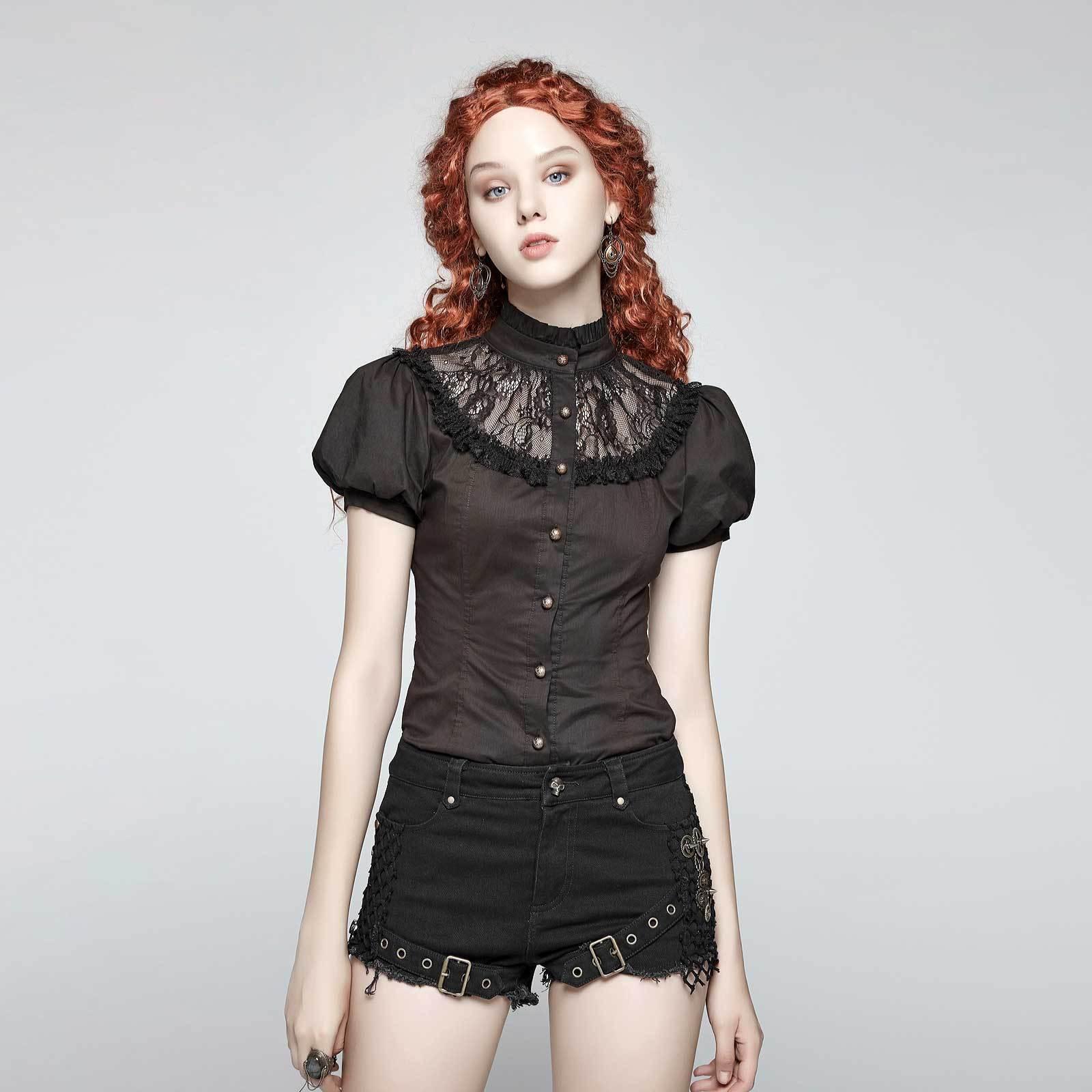 PUNK RAVE Steampunk Blause Braun-Schwarz Spitze Gothic Victorian Shirt Dark braun