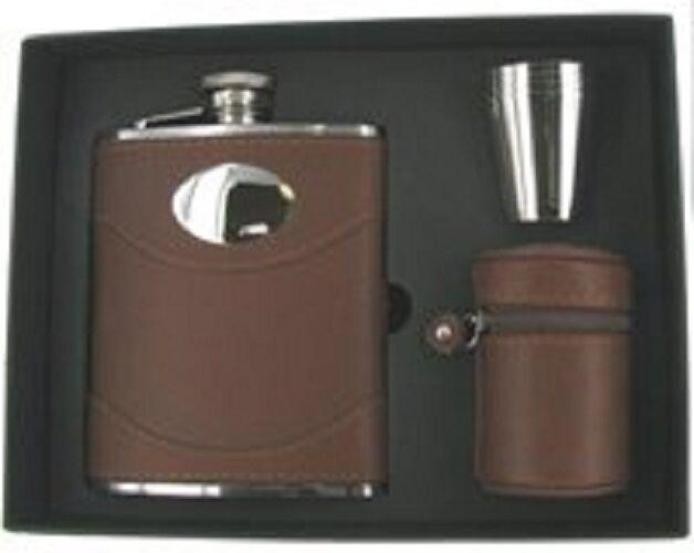 Cuir marron personnalisé espagnol 6oz hip ballon & CUPS plaque engravable flc9s