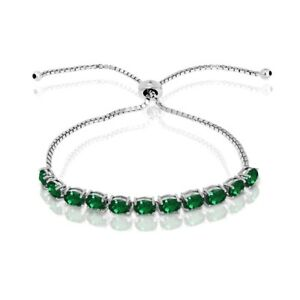 Oval-cut-6x4mm-Simulated-Emerald-Adjustable-Tennis-Bracelet-in-Sterling-Silver