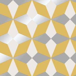 Nova-Moutarde-Argent-Papier-Peint-Geometrique-fine-decor-FD42546