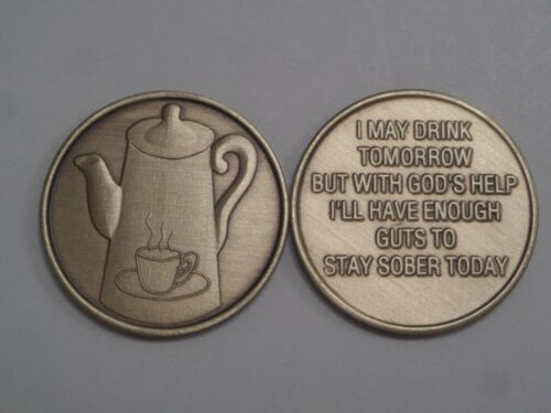 Bronze Affirmation Medallion Coffee Pot With God/'s Help Stay Sober Today Coin