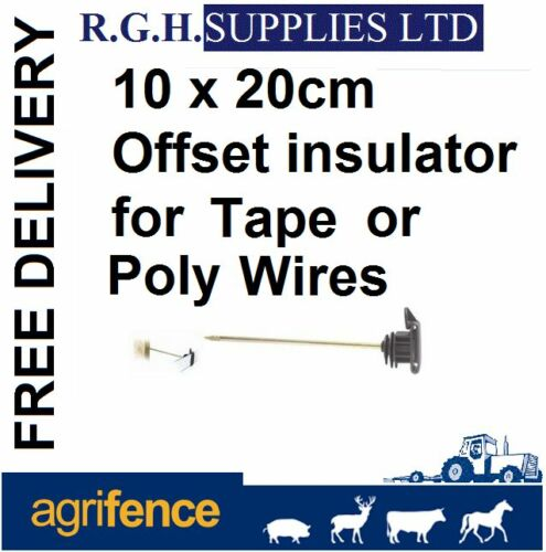 Electric Fencing 20cm Offset Insulators For Up To 40mm Tape Or Poly Wire x 10no