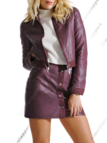 New Womens Crop Jacket Skirt Co-ord Two Piece Suit PU Suede Set Size 8 10 12 14