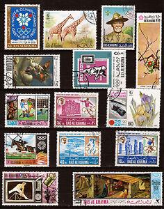Gelernt Ras El Khaima 14 Briefmarken Entwertet Themen Verschiedene 125t5 Sonstige