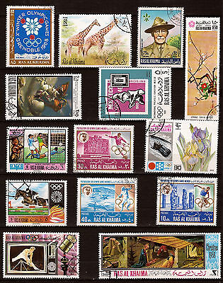 Other Middle Eastern Stamps Rapture Ras El Khaima 14 Stamps Obliterated Figures Various 125t5