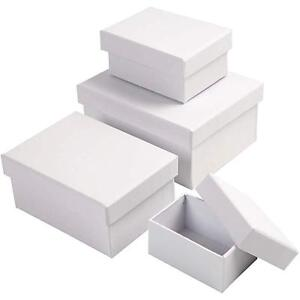 Image Is Loading 4 X Rectangular Shaped Boxes 8cm 14cm Craft