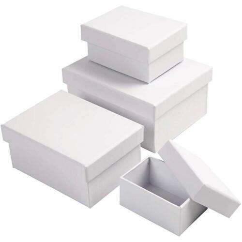 14cm Craft Storage White Cardboard Decorate 4 x Rectangular Shaped Boxes 8cm